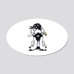 Poodle Pirate 20x12 Oval Wall Decal