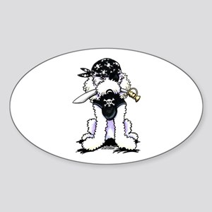 Poodle Pirate Sticker (Oval)