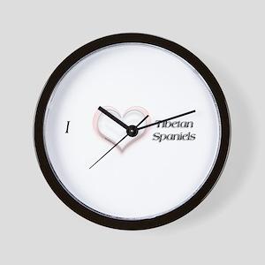 I heart Tibetan Spaniels Wall Clock