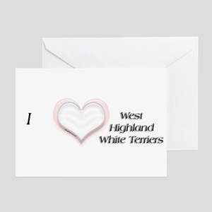 I heart West Highland White Terriers Greeting Card