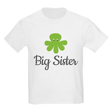 Big Sis Green Octopus Kids Light T-Shirt