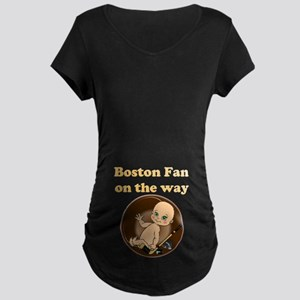 Boston Fan on the way Maternity Dark T-Shirt