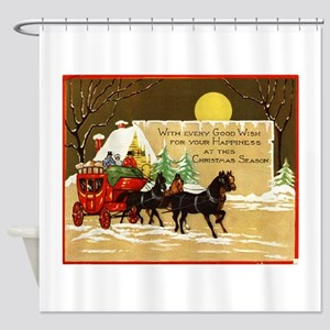 Christmas Horse and Buggy Shower Curtain
