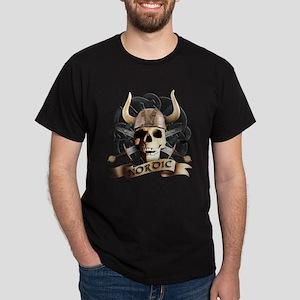 sword skull tribal viking odin helmet runes Dark T