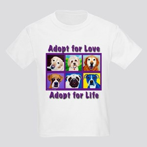 Adopt for Love, Adopt for Life Kids Light T-Shirt