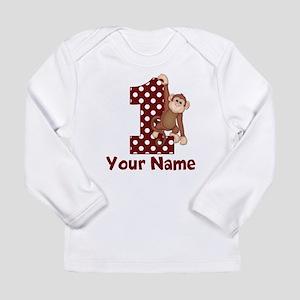 1st Birthday Monkey Red Long Sleeve Infant T-Shirt