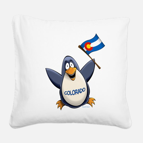 Colorado Penguin Square Canvas Pillow