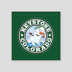 "Keystone Snowman Circle Square Sticker 3"" x 3"""