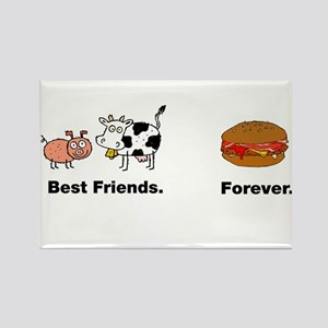 Cow Pig Best Friends Bacon Hamburger Rectangle Mag