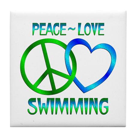 Peace Love Swimming Tile Coaster