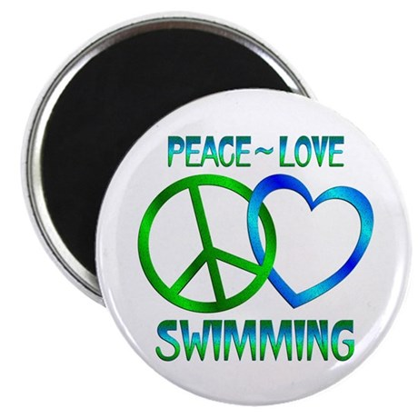 """Peace Love Swimming 2.25"""" Magnet (10 pack)"""