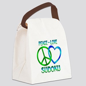 Peace Love Sudoku Canvas Lunch Bag