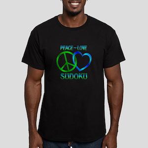 Peace Love Sudoku Men's Fitted T-Shirt (dark)