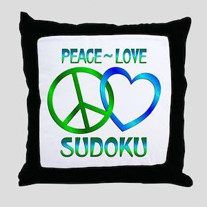 Peace Love Sudoku Throw Pillow