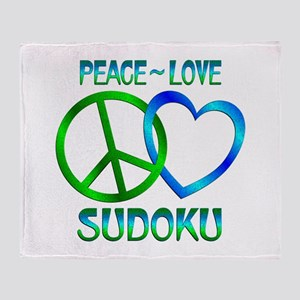 Peace Love Sudoku Throw Blanket