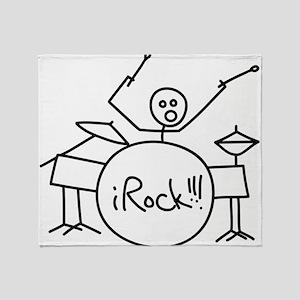 iRock Stick Man Playing Drums Throw Blanket