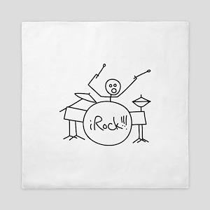 iRock Stick Man Playing Drums Queen Duvet
