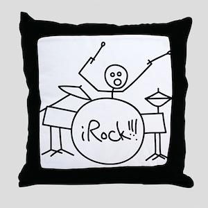 iRock Stick Man Playing Drums Throw Pillow