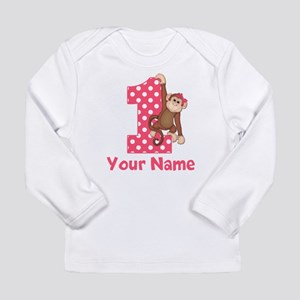First Birthday Girl Monkey Long Sleeve Infant T-Sh