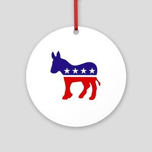 Democrat Party Donkey Ornament (Round)