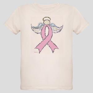 Breast Cancer Pink Ribbon Angel Organic Kids T-Shi