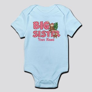 Big Sister Monkey Pink Infant Bodysuit