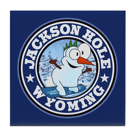 Jackson Hole Snowman Circle Tile Coaster