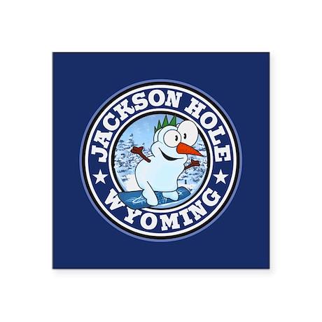 "Jackson Hole Snowman Circle Square Sticker 3"" x 3"""