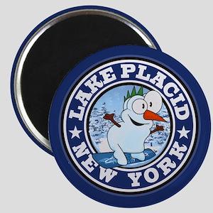 Lake Placid Snowman Circle Magnet