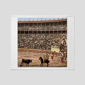 Vintage Spain Bull Fight Throw Blanket