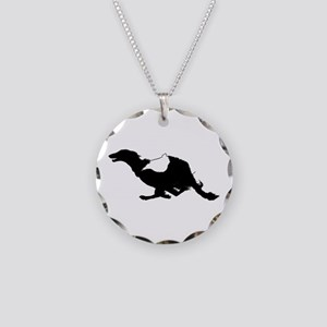 Running Silken Windhound Necklace Circle Charm