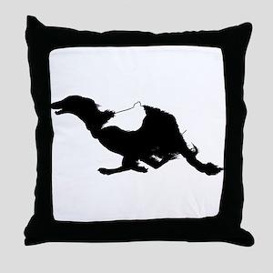 Running Silken Windhound Throw Pillow
