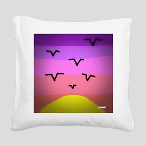 Sunset Seagulls Square Canvas Pillow