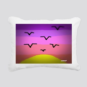 Sunset Seagulls Rectangular Canvas Pillow