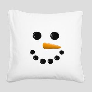 Snowman Face Square Canvas Pillow