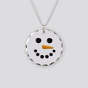 Snowman Face Necklace Circle Charm