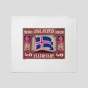 1930 Iceland Flag Postage Stamp Throw Blanket