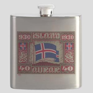 1930 Iceland Flag Postage Stamp Flask
