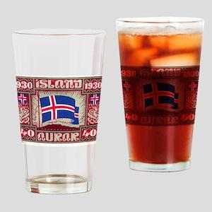 1930 Iceland Flag Postage Stamp Drinking Glass