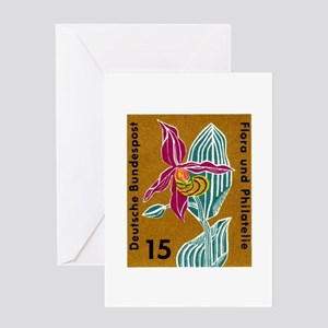 Germany Orchid Postage Stamp Greeting Card