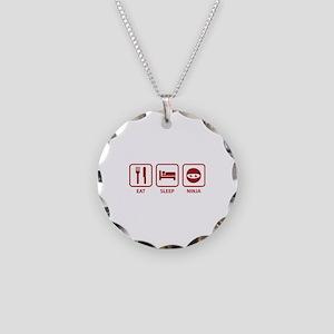 Eat Sleep Ninja Necklace Circle Charm