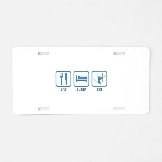 Eat Sleep Ski Aluminum License Plate