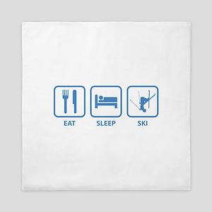 Eat Sleep Ski Queen Duvet