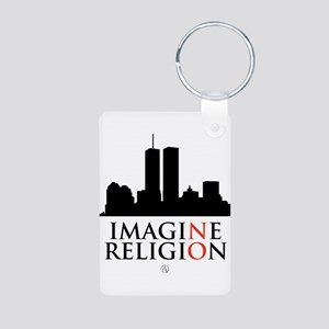 Imagine No Religion Aluminum Photo Keychain