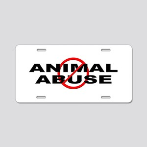 Anti / No Animal Abuse Aluminum License Plate
