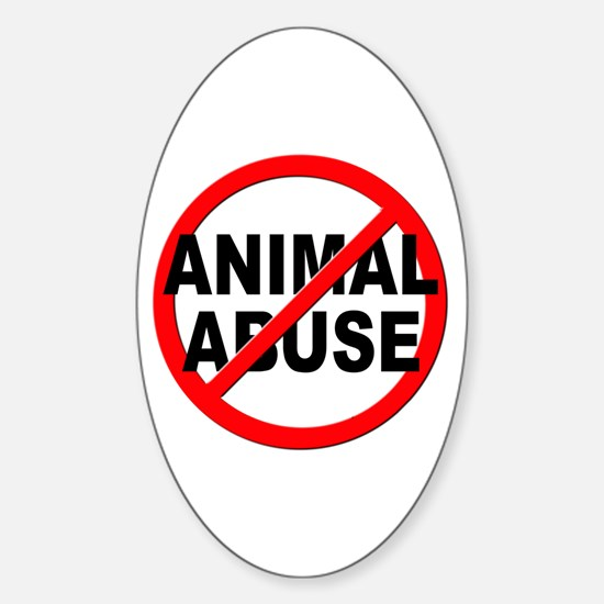 Anti / No Animal Abuse Sticker (Oval)