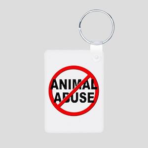 Anti / No Animal Abuse Aluminum Photo Keychain