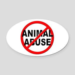 Anti / No Animal Abuse Oval Car Magnet