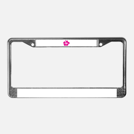 Hot Pink Hibiscus Flower License Plate Frame