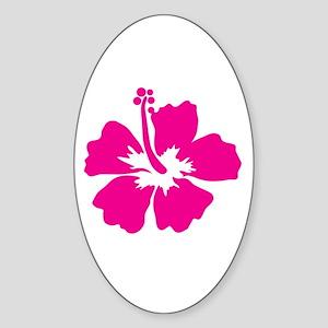 Hot Pink Hibiscus Flower Sticker (Oval)